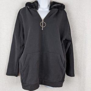 Zara black faux fur hooded sweatshirt
